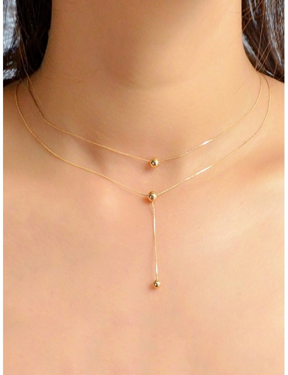 Ball Pendent Chain Necklace - Gold