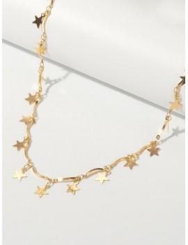 2Pcs Shell Charm Star Necklaces Set - Gold