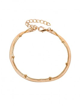 1PC Metal Bead Chain Anklet - Gold
