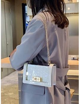 Chain Transparent Square Shoulder Bag - White