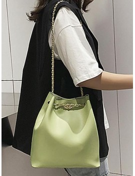 Brief Bucket Chain Shoulder Bag - Green Snake