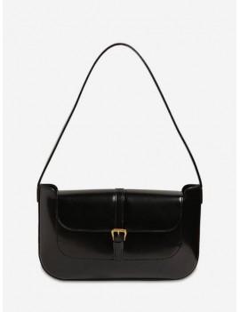 Buckle Solid Retro Shoulder Bag - Black