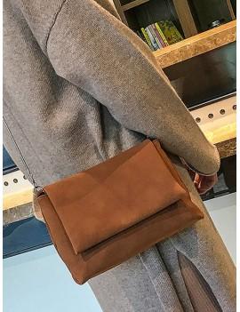 Chain Solid Cover Shoulder Bag - Light Brown