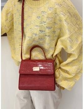 Animal Embossed PU Leather Mini Crossbody Bag - Red