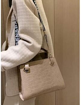 Animal Embossed Letter Strap Crossbody Bag - Light Khaki