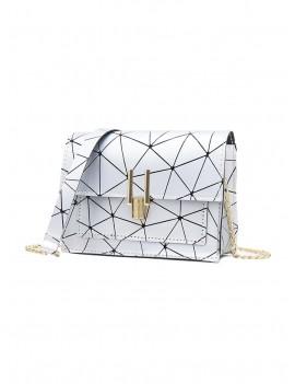 Cover Chain Geometric Crossbody Bag - Silver