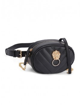 Crossbody Embossed Waist Bag - Black
