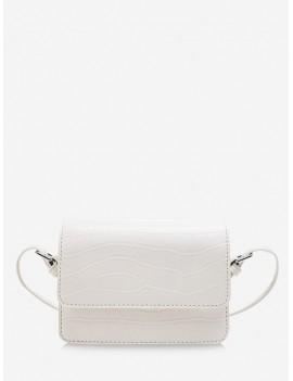 Animal Embossed Square Messenger Bag - White
