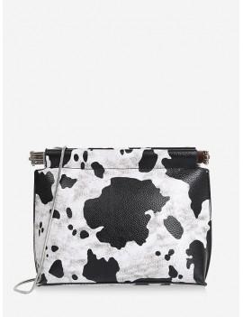 Cow Pattern Chain Messenger Bag - Black