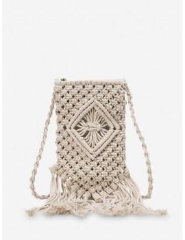 Bohemian Crotchet Fringe Crossbody Bag - White