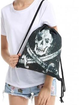Halloween Drawstring Gothic Backpack - Black