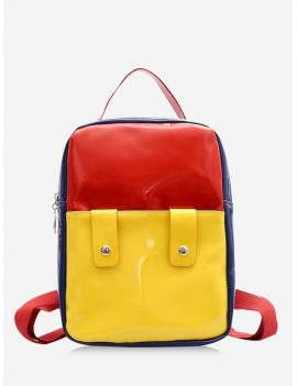 Color Block Patent Leather Backpack - Yellow