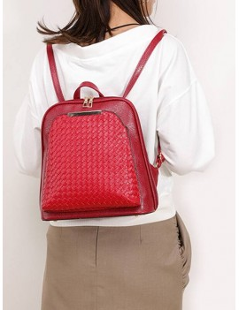 Casual Solid Zipper Weaving Backpack - Red Wine