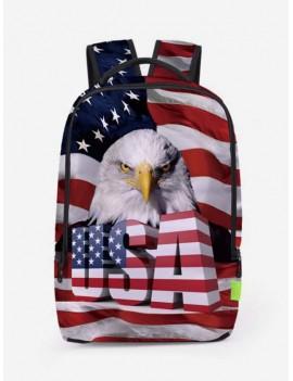 Creative American Flag Patriotic Pattern Backpack - Chestnut Red