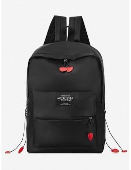 Chic Letter Pattern Backpack - Black