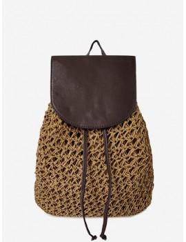 Braided Straw Beach String Backpack - Brown
