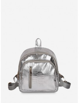 Casual Simple Solid Soft Backpack - Silver