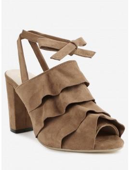 Ankle Strap Chunky Heel Ruffles Peep Toe Sandals - Deep Brown 40