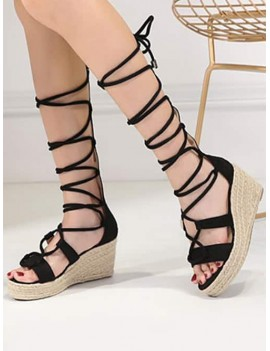 Strappy Gladiator Mid Calf Espadrille Sandals - Black 39