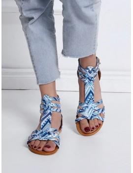 Bohemian Print Flat Sandals - Day Sky Blue Eu 39