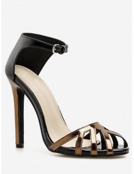 Ankle Wrap Design Stiletto Heel Sandals - Black Eu 40