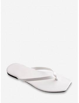 Brief Square Toe Flat Flip Flops - White Eu 37