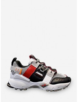 Breathable Mix Material Dad Sneakers - Red Eu 36