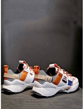 Breathable Mix Material Dad Sneakers - Tangerine Eu 40