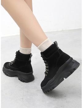 British Style Platform Chunky Heel Short Boots - Black Eu 38