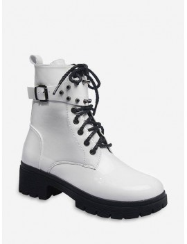 Buckle Accent Chunky Heel Mid Calf Boots - Milk White Eu 39