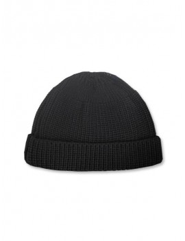 Casual Round Top Knitted Weaving Winter Soft Hat - Black