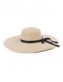 Bowknot Decorate Solid Straw Sun Floppy Hat - Beige
