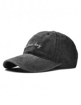 Adjustable Embroidery Baseball Cap - Black