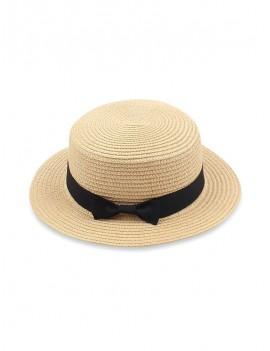 Bowknot Flat Straw Sun Hat - Cornsilk