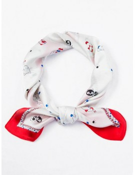 Cat Dog Pattern Square Scarf - White