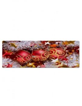 Christmas Balls Stars Pattern Anti-skid Water Absorption Area Rug - Multi W24 X L71 Inch