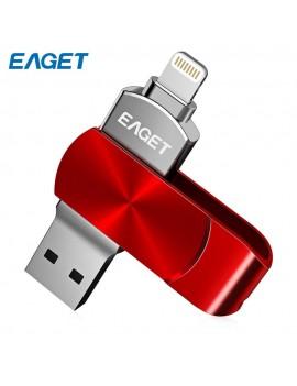 EAGET I66 USB Flash Drive Type-C USB3.0 OTG Rotary Design Memory Stick For IPhone 7 Plus / 7 / SE / 6S Plus / 6S / 6 / 5S / 5C / 5 - Red 128gb