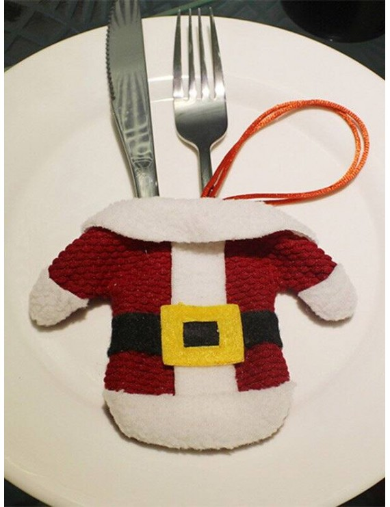 Christmas Santa Clothes Shape Tableware Holder Bag - Red With White