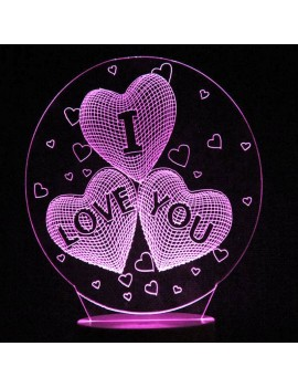 Mother's Day Love Heart Colors Changing LED Night Light - Transparent