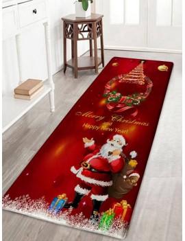 Christmas Wreath Santa Claus Print Flannel Bath Rug - Dark Red W16 Inch * L47 Inch