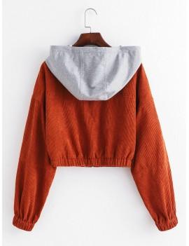 Corduroy Hooded Drop Shoulder Crop Jacket - Light Brown S