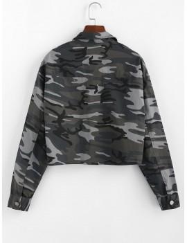 Camouflage Drop Shoulder Crop Jacket - Camouflage Green M