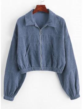 Corduroy Pocket Pull Ring Drop Shoulder Jacket - Slate Blue L