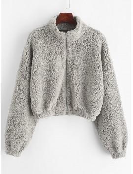 Drop Shoulder Zip Up Teddy Coat - Gray Cloud M