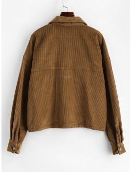 Flap Pockets Button Up Corduroy Shirt Jacket - Brown M