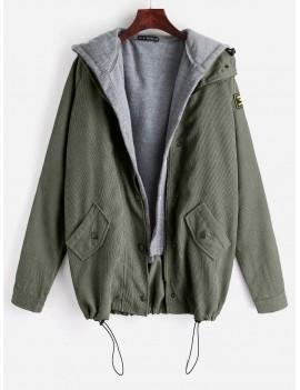 Fleece Vest And Corduroy Jacket Twinset - Army Green S