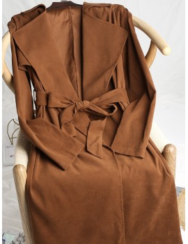 Lapel Back Slit Longline Wrap Trench Coat - Sepia Xl