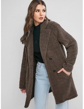 Lapel Pocket Longline Teddy Coat - Coffee M