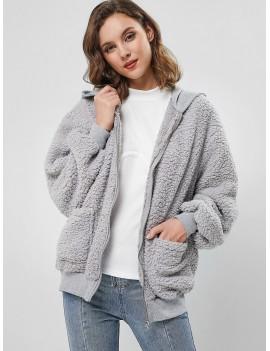 Hooded Fluffy Zip Up Teddy Coat - Gray M