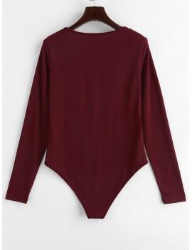 Plunge Long Sleeve Lattice Bodysuit - Red Wine L